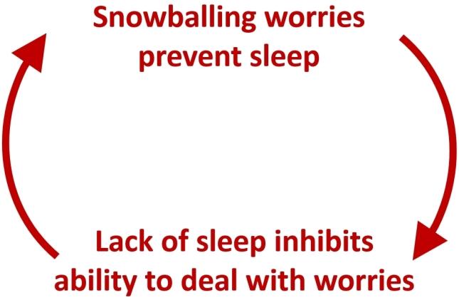 Worries prevent sleep → Lack of sleep inhibits ability to deal with worries → Worries prevent sleep